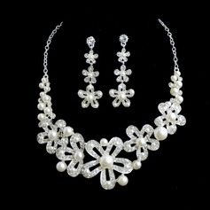 Flower Shaped Alloy/Pearl With Rhinestone Ladies' Jewelry Sets