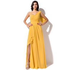 A-Line/Princess V-neck Floor-Length Chiffon Evening Dress With Beading Flower(s) Sequins Split Front Cascading Ruffles