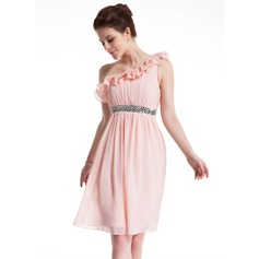 Empire One-Shoulder Knee-Length Chiffon Homecoming Dress With Ruffle Sash Beading Bow(s)