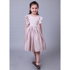 A-Line/Princess Tea-length Flower Girl Dress - Cotton/Silk-like Short Sleeves Scoop Neck