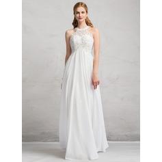 Empire Scoop Neck Floor-Length Chiffon Lace Wedding Dress With Beading