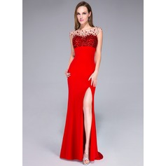 Trumpet/Mermaid Scoop Neck Sweep Train Jersey Prom Dress With Beading Sequins Split Front