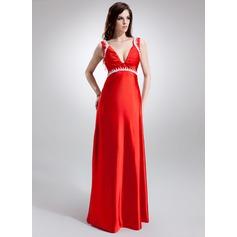 Empire V-neck Sweep Train Charmeuse Charmeuse Maternity Bridesmaid Dress With Ruffle Lace Beading