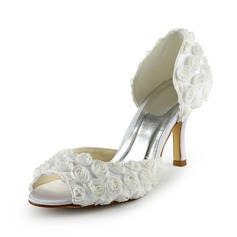 Women's Stiletto Heel Peep Toe Sandals With Satin Flower