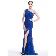 Trumpet/Mermaid One-Shoulder Sweep Train Lace Evening Dress With Beading Sequins Split Front