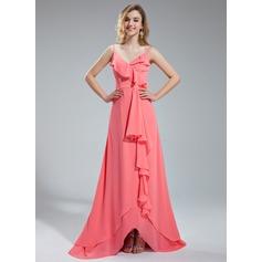 A-Line/Princess V-neck Asymmetrical Chiffon Bridesmaid Dress With Cascading Ruffles