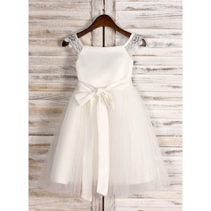 A-Line/Princess Knee-length Flower Girl Dress - Satin/Tulle Sleeveless Square Neckline With Sash
