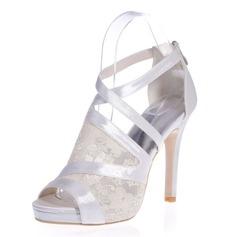 Women's Lace Satin Stiletto Heel Peep Toe Platform Sandals With Zipper Split Joint
