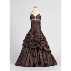 A-Line/Princess Floor-length Flower Girl Dress - Taffeta Sleeveless V-neck With Ruffles/Beading/Pick Up Skirt