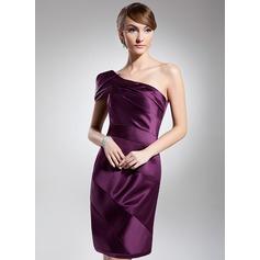 Sheath/Column One-Shoulder Knee-Length Satin Cocktail Dress With Ruffle