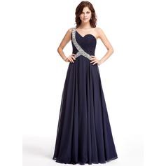A-Line/Princess One-Shoulder Floor-Length Chiffon Evening Dress With Ruffle Beading