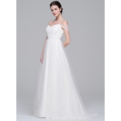 A-Line/Princess Off-the-Shoulder Sweep Train Tulle Wedding Dress With Ruffle Beading Sequins