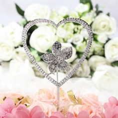Cake Jewelry Heart/Flower Ceramic/Czech Stones Bridal Shower Cake Topper (2 Pieces)