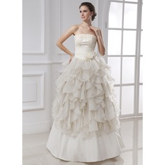 Ball-Gown Strapless Floor-Length Chiffon Satin Wedding Dress With Ruffle Lace Flower(s) Cascading Ruffles