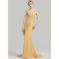 Trumpet/Mermaid V-neck Sweep Train Chiffon Mother of the Bride Dress With Ruffle Beading Appliques Lace Sequins