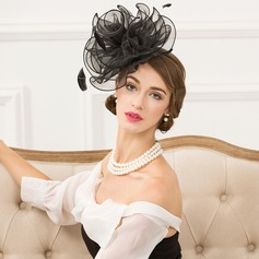 Ladies' Vintage Organza With Feather Fascinators