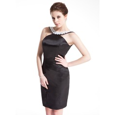 Sheath/Column Scoop Neck Short/Mini Charmeuse Cocktail Dress With Beading Appliques Lace