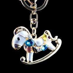 Classic Lovely Hobbyhorse Design Crystal/Chrome Keychains