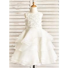 A-Line/Princess Tea-length Flower Girl Dress - Organza Sleeveless Scoop Neck With Ruffles/Beading/Appliques