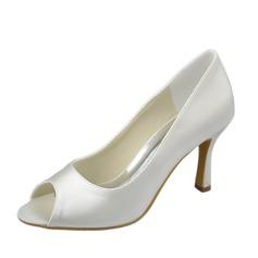 Women's Satin Stiletto Heel Peep Toe Sandals