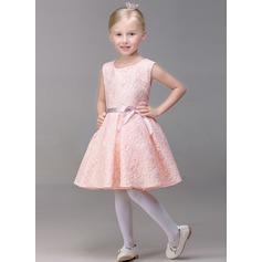 A-Line/Princess Short/Mini Flower Girl Dress - Lace Sleeveless Jewel With Bow(s)