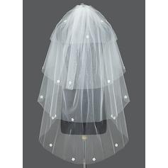 Four-tier Waltz Bridal Veils With Cut Edge