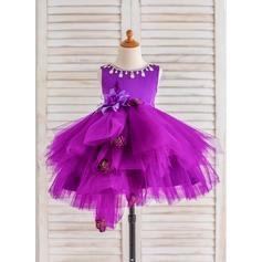 Ball Gown Knee-length Flower Girl Dress - Tulle Sleeveless Scoop Neck With Flower(s)/Rhinestone
