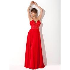 A-Line/Princess Sweetheart Floor-Length Chiffon Evening Dress With Beading Flower(s)