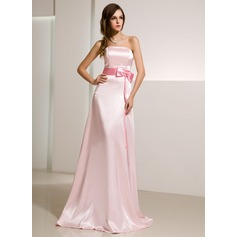 A-Line/Princess Strapless Sweep Train Charmeuse Bridesmaid Dress With Sash Beading Bow(s)