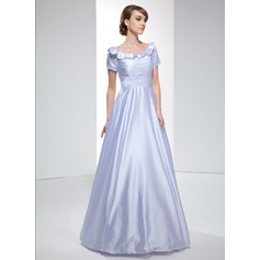 A-Line/Princess Off-the-Shoulder Floor-Length Charmeuse Evening Dress With Ruffle