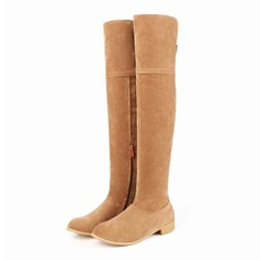 Women's Suede Wedge Heel Over The Knee Boots shoes