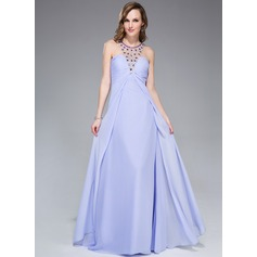 Empire Scoop Neck Floor-Length Chiffon Evening Dress With Beading Sequins