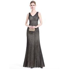 Sheath/Column V-neck Floor-Length Lace Evening Dress