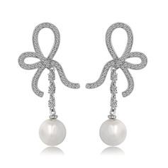 Bowknot Pearl/Copper/Zircon/Platinum Plated Ladies' Earrings