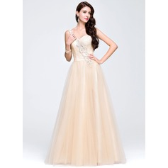 A-Line/Princess One-Shoulder Floor-Length Tulle Prom Dress With Beading Sequins