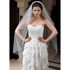 Two-tier Waltz Bridal Veils With Cut Edge
