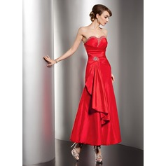 A-Line/Princess Sweetheart Ankle-Length Taffeta Holiday Dress With Beading Cascading Ruffles