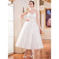 A-Line/Princess Sweetheart Tea-Length Tulle Wedding Dress With Ruffle Flower(s)