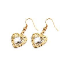 Sweet Heart Alloy/Gold Plated With Rhinestone Ladies' Earrings