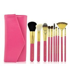 10Pcs Wood Handle Makeup Brushes With Solid Color PU Pouch(More Colors)