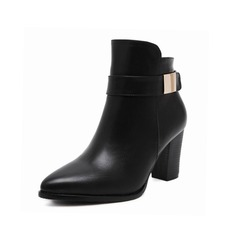 Leatherette Chunky Heel Platform Ankle Boots With Buckle shoes