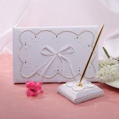 Elegant Faux Pearl/Ribbons Guestbook & Pen Set