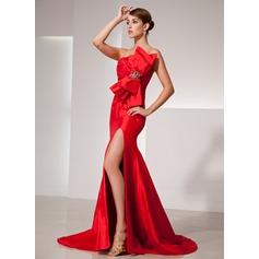 Trumpet/Mermaid Scalloped Neck Court Train Taffeta Prom Dress With Ruffle Beading Bow(s) Split Front
