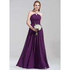 A-Line/Princess Scalloped Neck Floor-Length Chiffon Bridesmaid Dress With Ruffle Beading Sequins