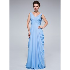A-Line/Princess V-neck Sweep Train Chiffon Mother of the Bride Dress With Ruffle