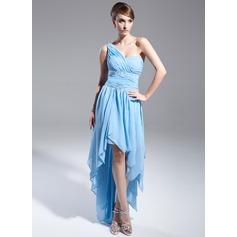 A-Line/Princess One-Shoulder Asymmetrical Chiffon Prom Dress With Beading Cascading Ruffles