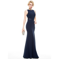 Trumpet/Mermaid Scoop Neck Floor-Length Satin Evening Dress With Lace