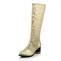 Women's Lace Chunky Heel Closed Toe Knee High Boots shoes