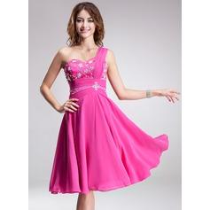A-Line/Princess One-Shoulder Knee-Length Chiffon Homecoming Dress With Ruffle Beading