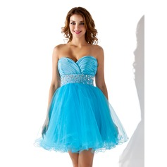 Empire Sweetheart Short/Mini Tulle Homecoming Dress With Ruffle Beading